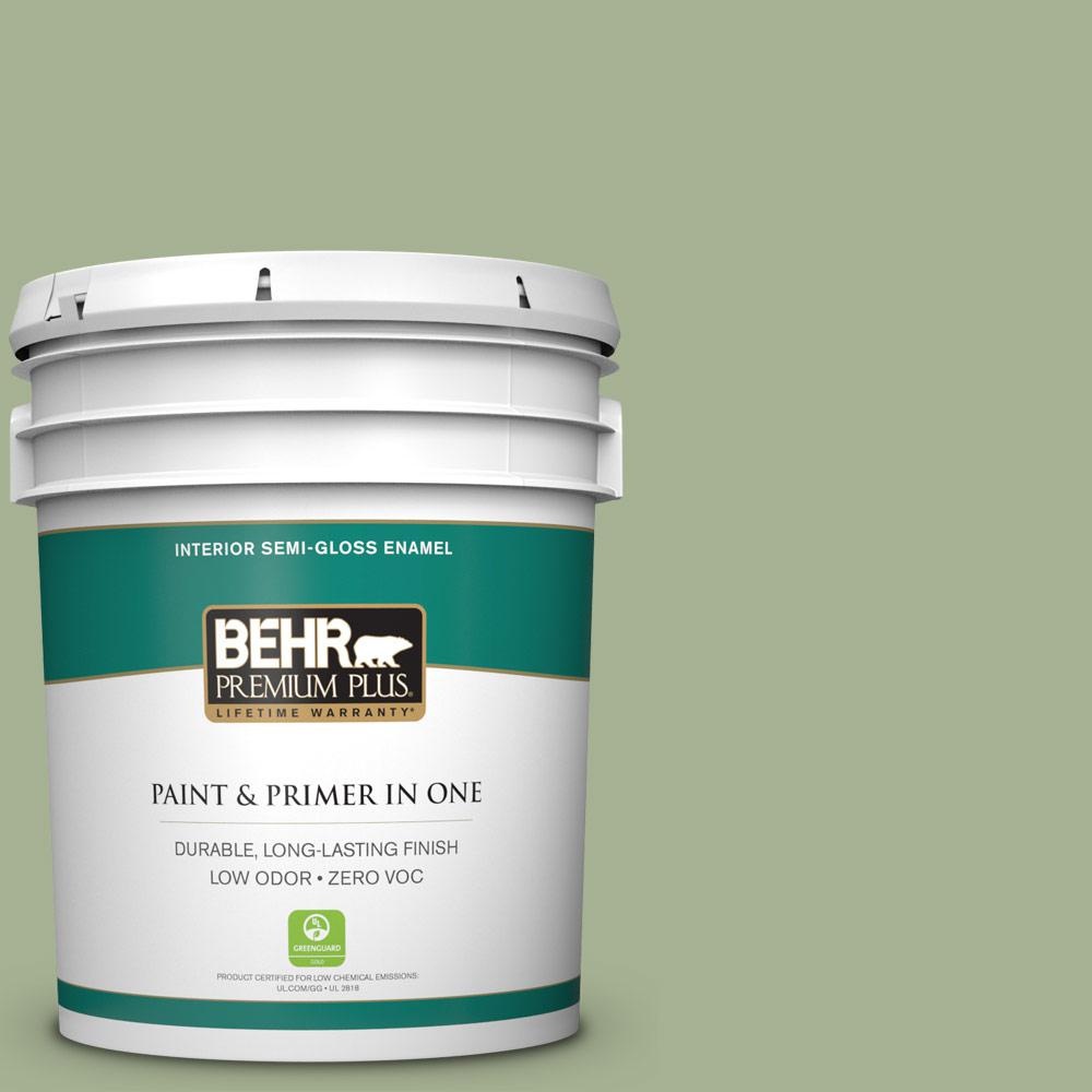 5 gal. #PPU11-06 Willow Grove Zero VOC Semi-Gloss Enamel Interior Paint