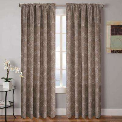 Tarah 52 in. W x 96 in. L Polyester Window Panel in Taupe-Aqua (2-Pack)