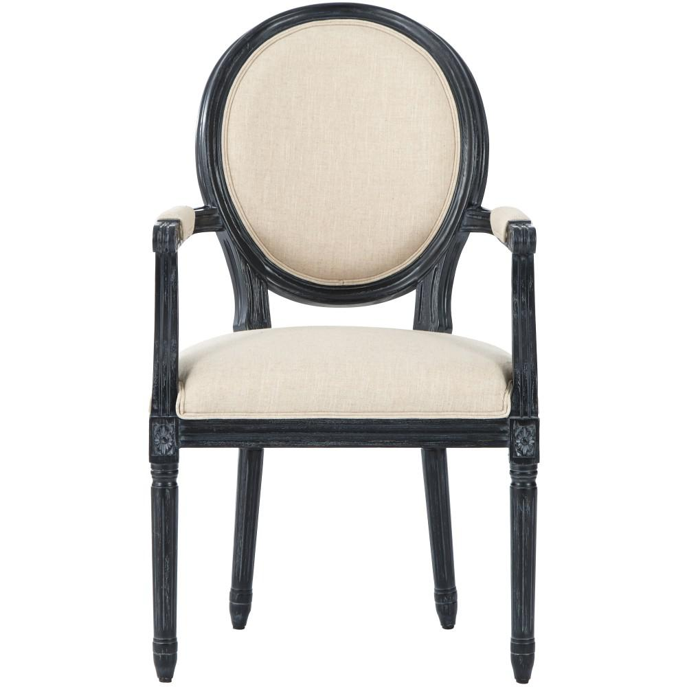 Jacques Antique Black Natural Linen Dining Chair