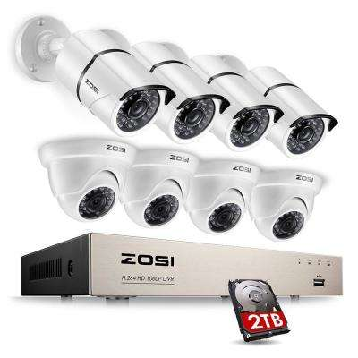 8-Channel 1080p 2TB DVR Security Camera System with 4 Wired Bullet Cameras and 4 Wired Dome Cameras