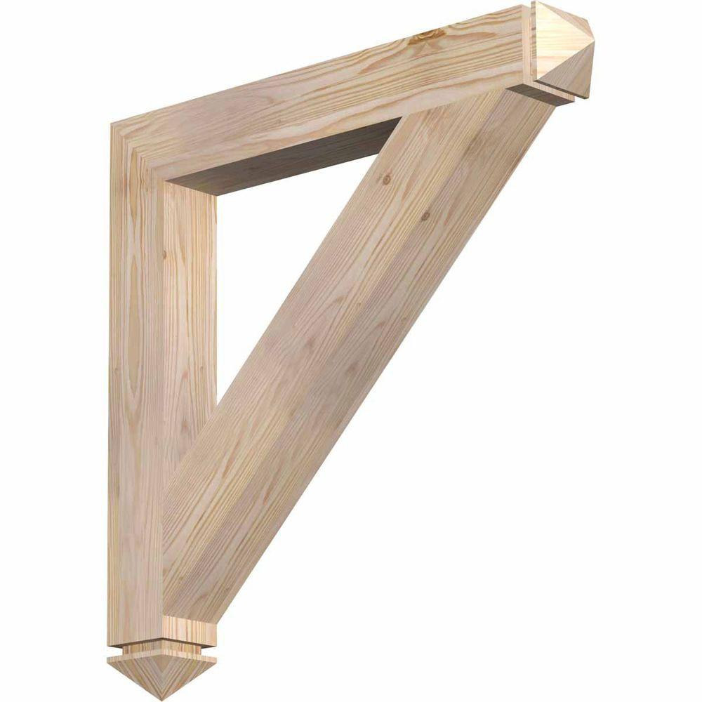 Ekena Millwork 3.5 in. x 28 in. x 28 in. Douglas Fir Traditional Arts and Crafts Smooth Bracket