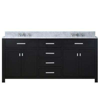 72 in. Vanity in Espresso with Marble Vanity Top in Carrara White