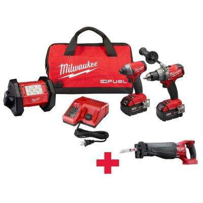 M18 FUEL ONE-KEY 18-Volt Lithium-Ion Brushless Cordless Hammer Drill/Impact Driver/Light Combo Kit W/ Free FUEL Sawzall