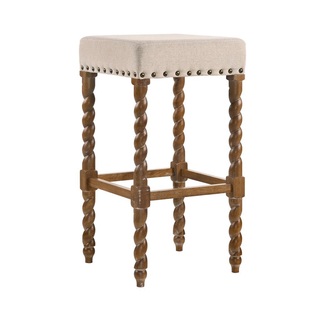 Natural oak barley twist upholstered stool 3664 noln the home depot