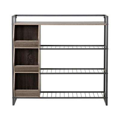 12-Pair 41 in. H Reclaimed Wood 4-Shelves Shoe Organizer