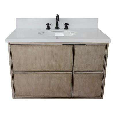 Scandi 37 in. W x 22 in. D Wall Mount Bath Vanity in Brown with Quartz Vanity Top in White with White Oval Basin