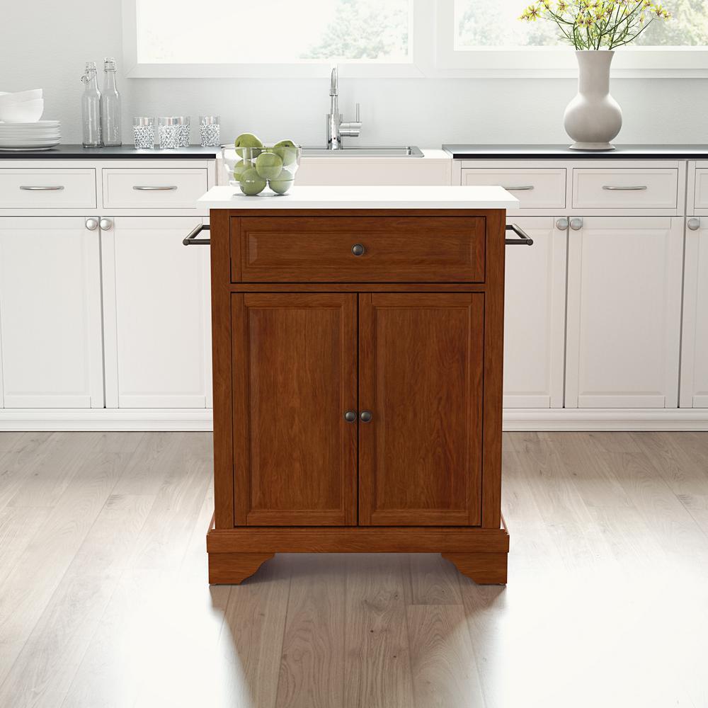Lafayette Cherry Portable Kitchen Island/Cart with Granite Top