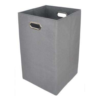 Bold Solid Grey Folding Laundry Basket