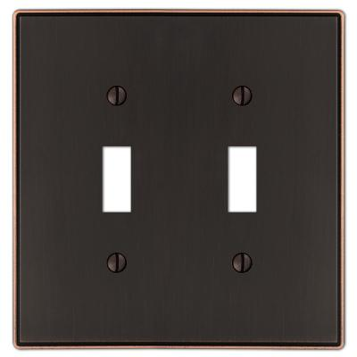 Ansley 2 Gang Toggle Metal Wall Plate - Aged Bronze