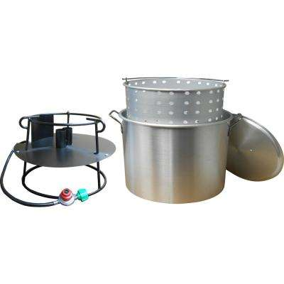 90 Qt. Propane Gas Jet Outdoor Cooker with Aluminum Pot, Basket and Lid