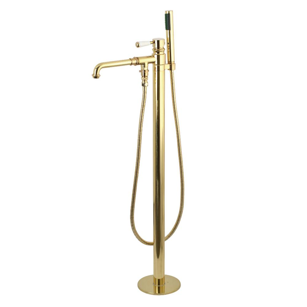 Kingston Brass Paris Single-Handle Floor-Mount Roman Tub Faucet with Hand Shower in Polished Brass