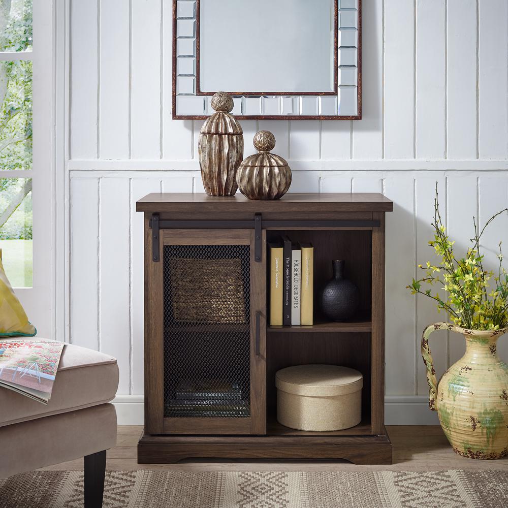 32 in. Dark Walnut Farmhouse Mesh Door Accent Cabinet-