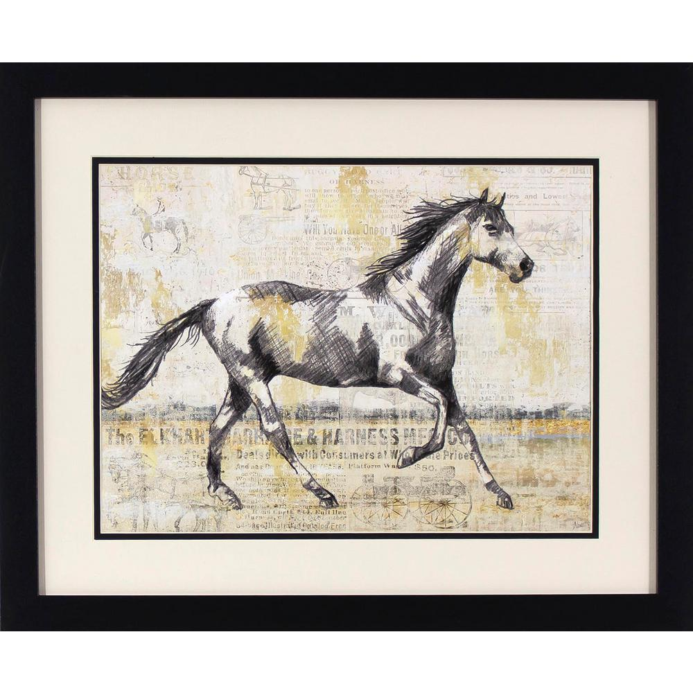 Decor Therapy 22 in. x 18 in. Trotting Horses Printed Framed Wall ...