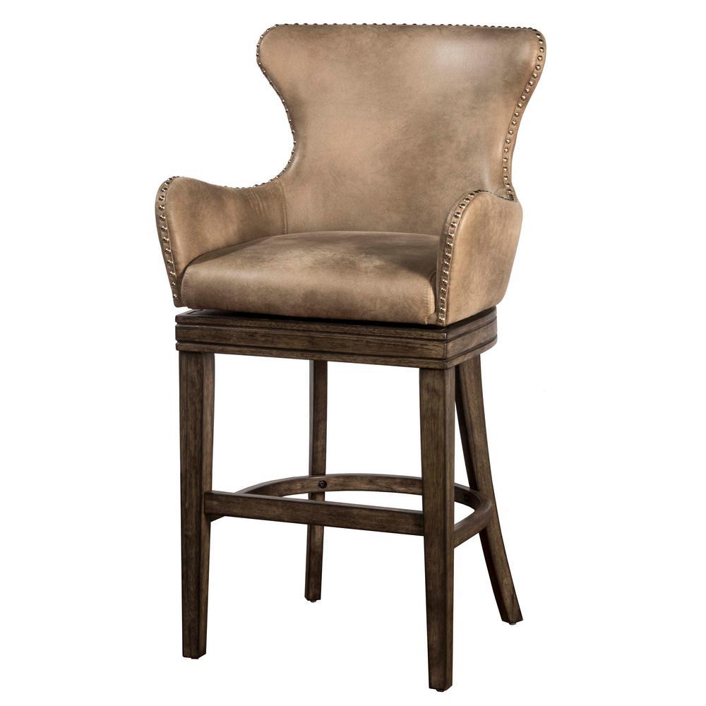 Hilale Furniture Caydena 30 In Rustic Gray Swivel Bar Stool