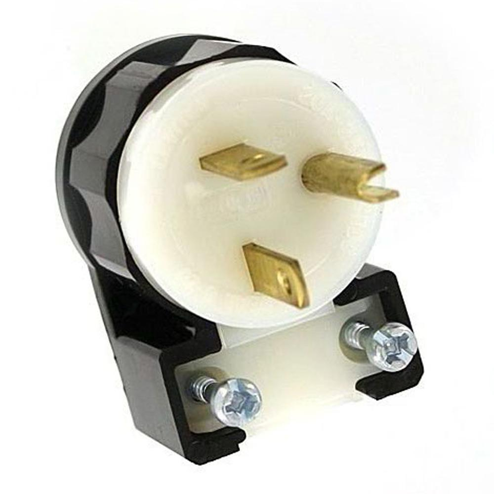 Leviton 20 Amp 250-volt Straight Blade Grounding Angle Plug  Black  White-5466-ca