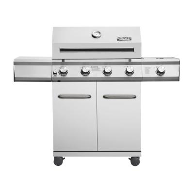 4-Burner Propane Gas Grill in Stainless Steel with LED Controls and Side Burner