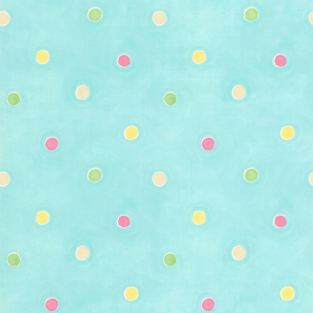 Brewster Sprinkles Aqua Polka Dots Wallpaper