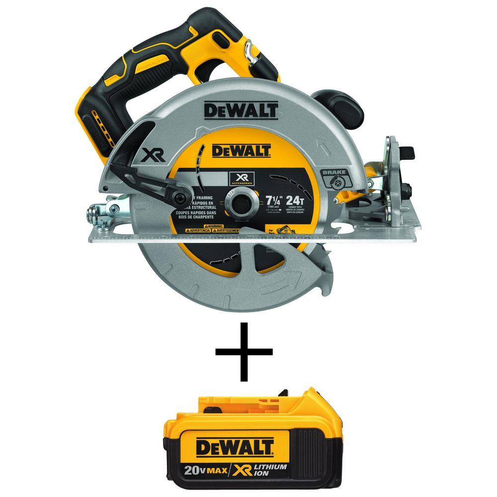 DEWALT 7-1/4 in. 20-Volt MAX XR Lithium-Ion Cordless Brushless Circular Saw with Brake with Bonus Premium Battery Pack 4.0 Ah