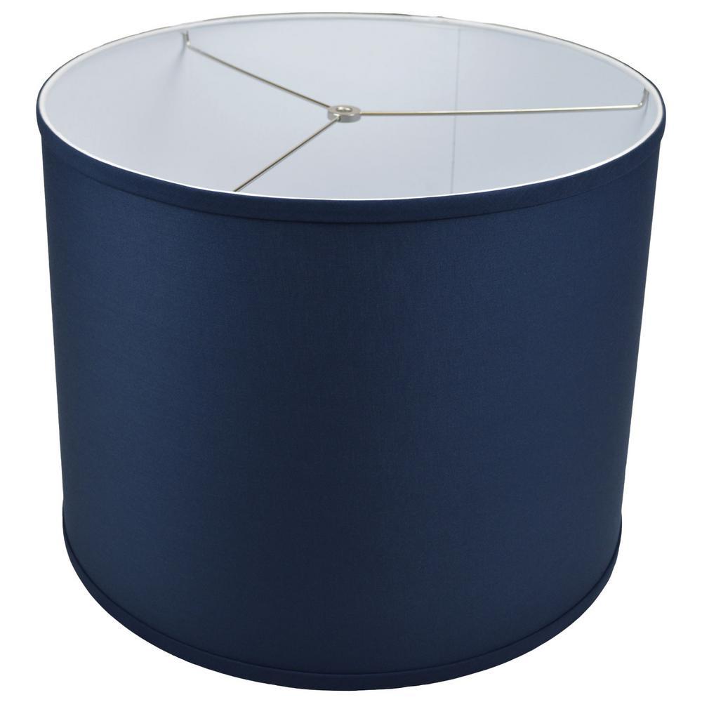 Fenchel Shades 18 in. Top Diameter x 18 in. Bottom Diameter x 14 in. Height, Drum Lamp Shade - Linen Navy Blue