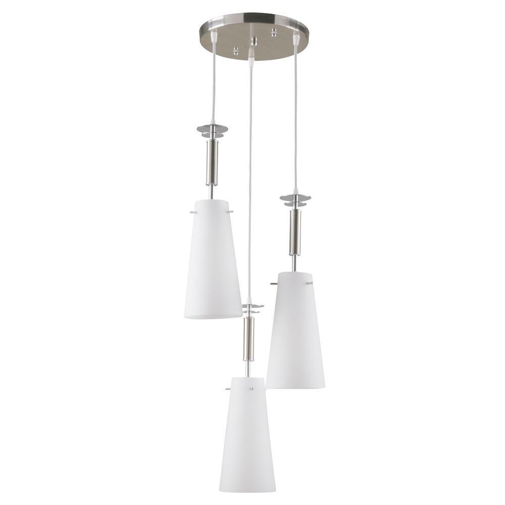 3 Light Led Ceiling Pendant Brushed Nickel Contemporary: Hampton Bay 3-Light Brushed Nickel Ceiling Mini Pendant