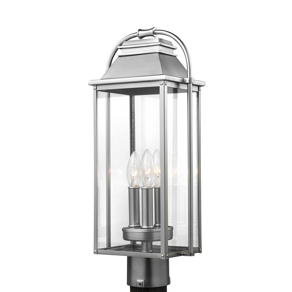 Wellsworth 3-Light Outdoor Painted Brushed Steel Post Light