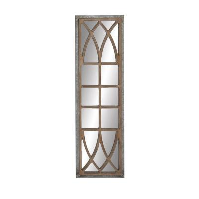 Large Blue Wood Mirror (52 in. H X 15 in. W)