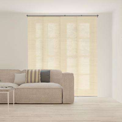 Adjustable Sliding Panel / Cut to Length, Curtain Drape Vertical Blind, Natural Woven, Privacy - Abaca Alabaster