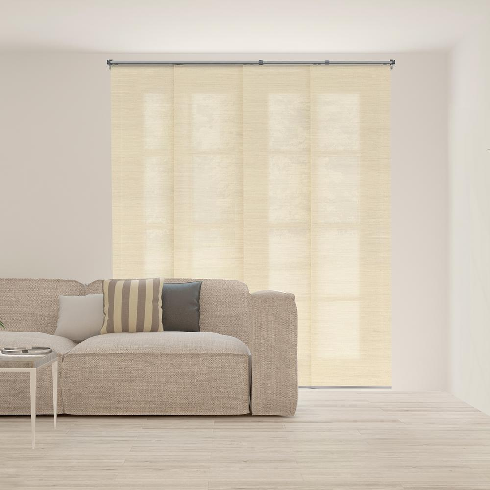 Panel Track Blinds Abaca Alabaster Polyester Cordless Vertical Blinds   80
