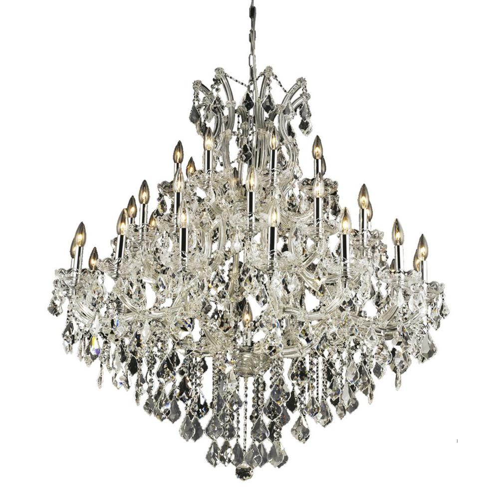Elegant Lighting 37-Light Chrome Chandelier with Clear Crystal