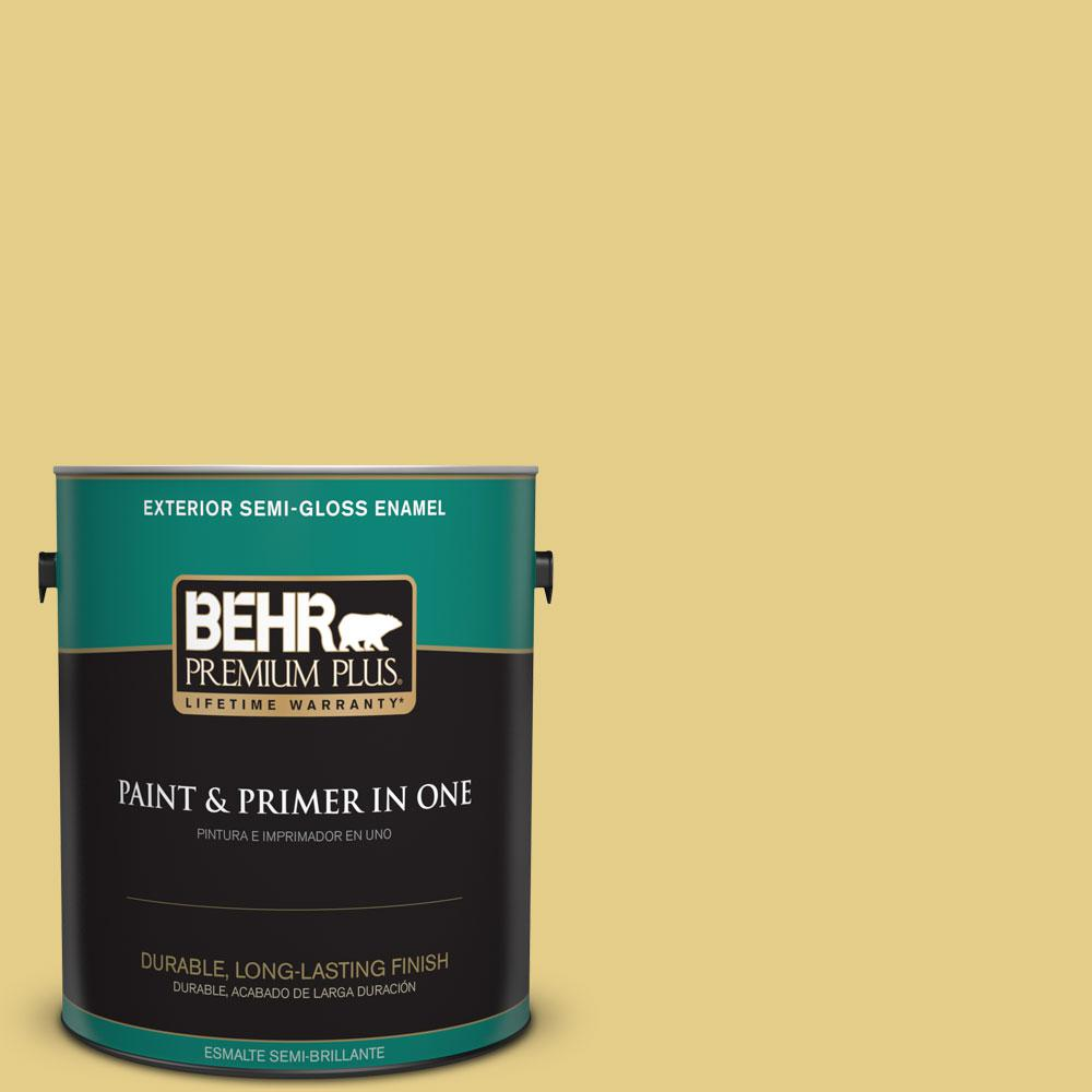 BEHR Premium Plus 1-gal. #T12-6 Lol Yellow Semi-Gloss Enamel Exterior Paint