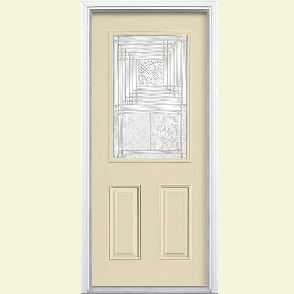 Masonite Rochelle 1/2 Lite Painted Steel Prehung Front Door with Brickmold-DISCONTINUED