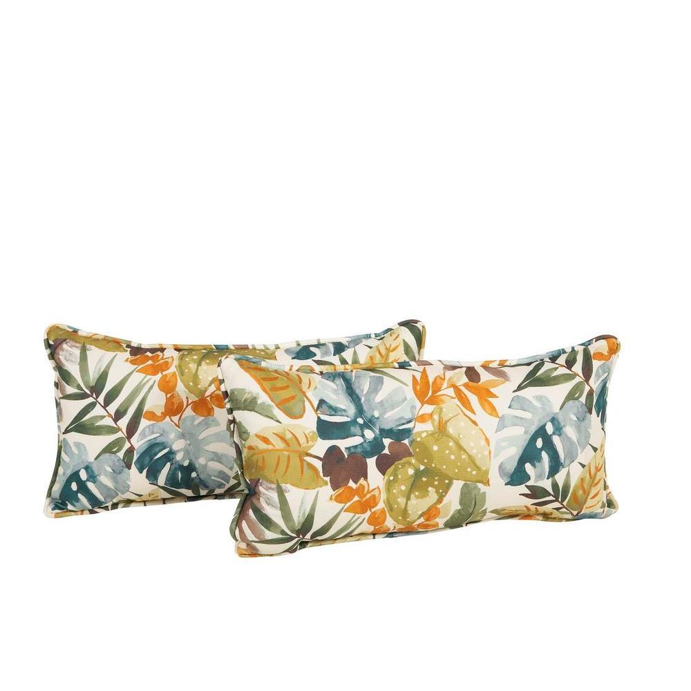 Hampton Bay Clairborne Outdoor Lumbar Pillow 2 Pack