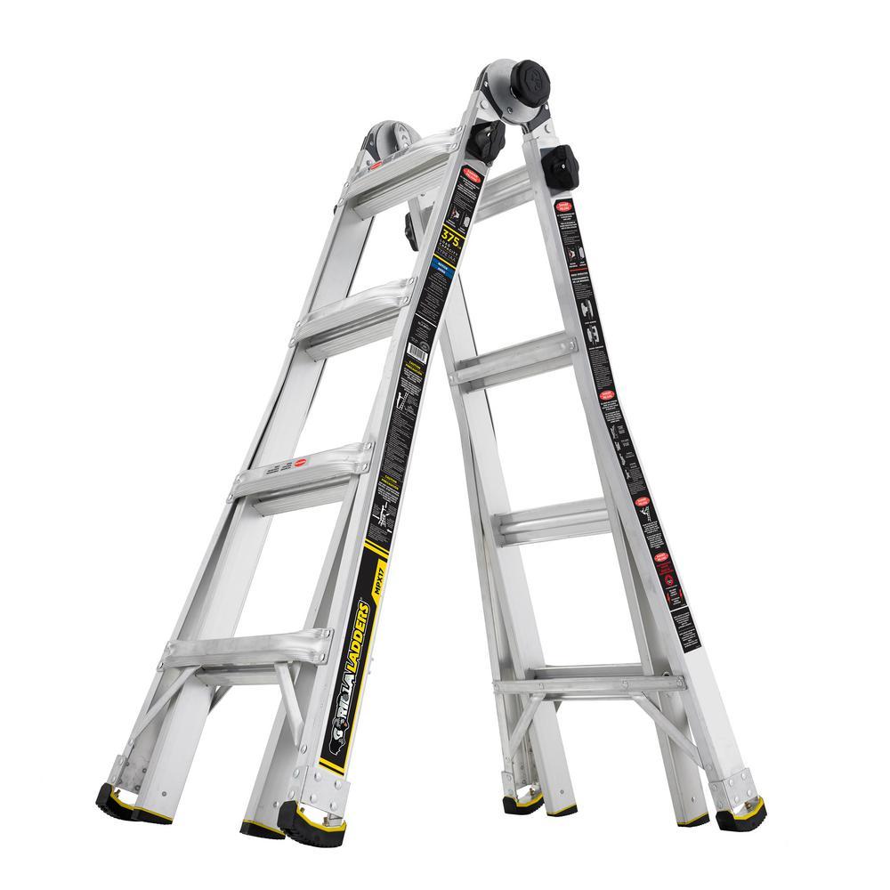 Gorilla Ladders 17 Ft Mpx Aluminum Telescoping Multi Position Ladder 375lbs Cap