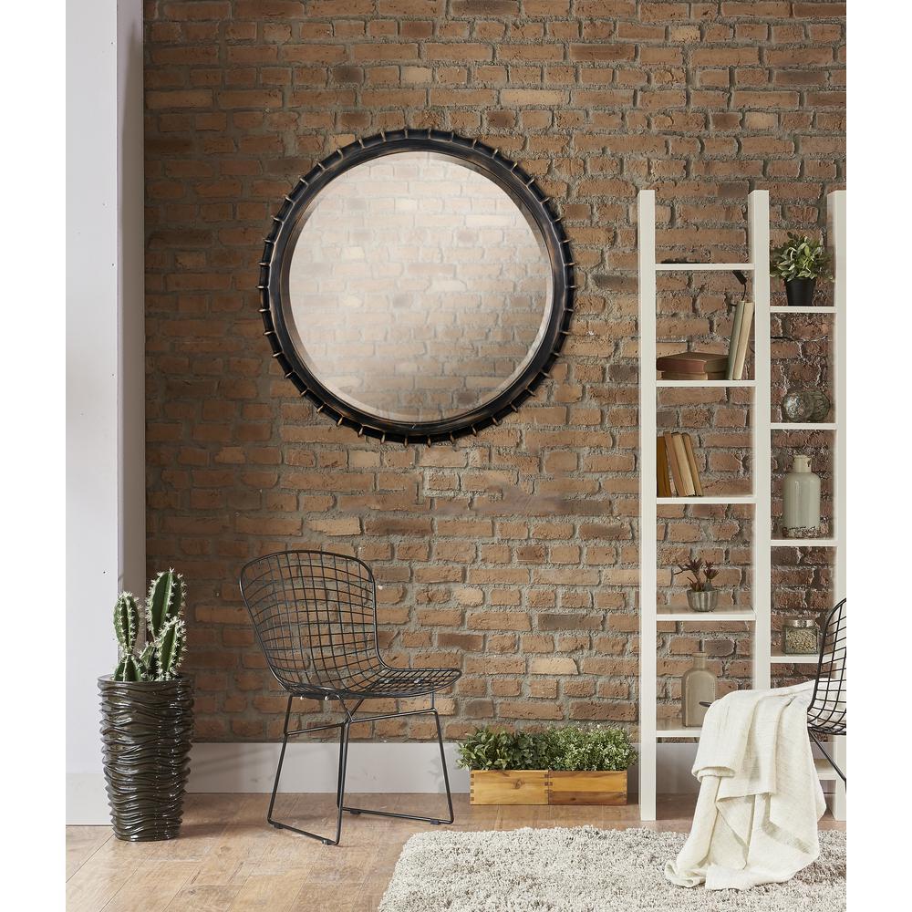 Pop round Vintage Metal Vanity Wall Mirror