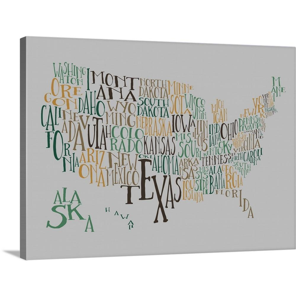 United States Map Canvas Wall Art.Greatbigcanvas Evergreen Hills Us Typography Map By Inner Circle