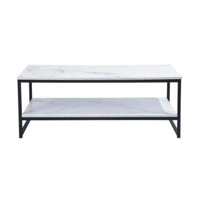 FurnitureR White 2-Levels Coffee Table