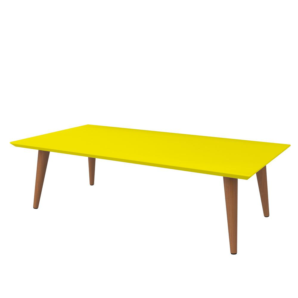 Yellow Beach Coffee Table: Manhattan Comfort Utopia 11.81 In. H Yellow Rectangle