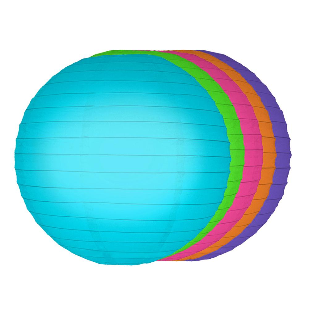 lumabase 10 in round multi color paper lanterns 5 count 78905