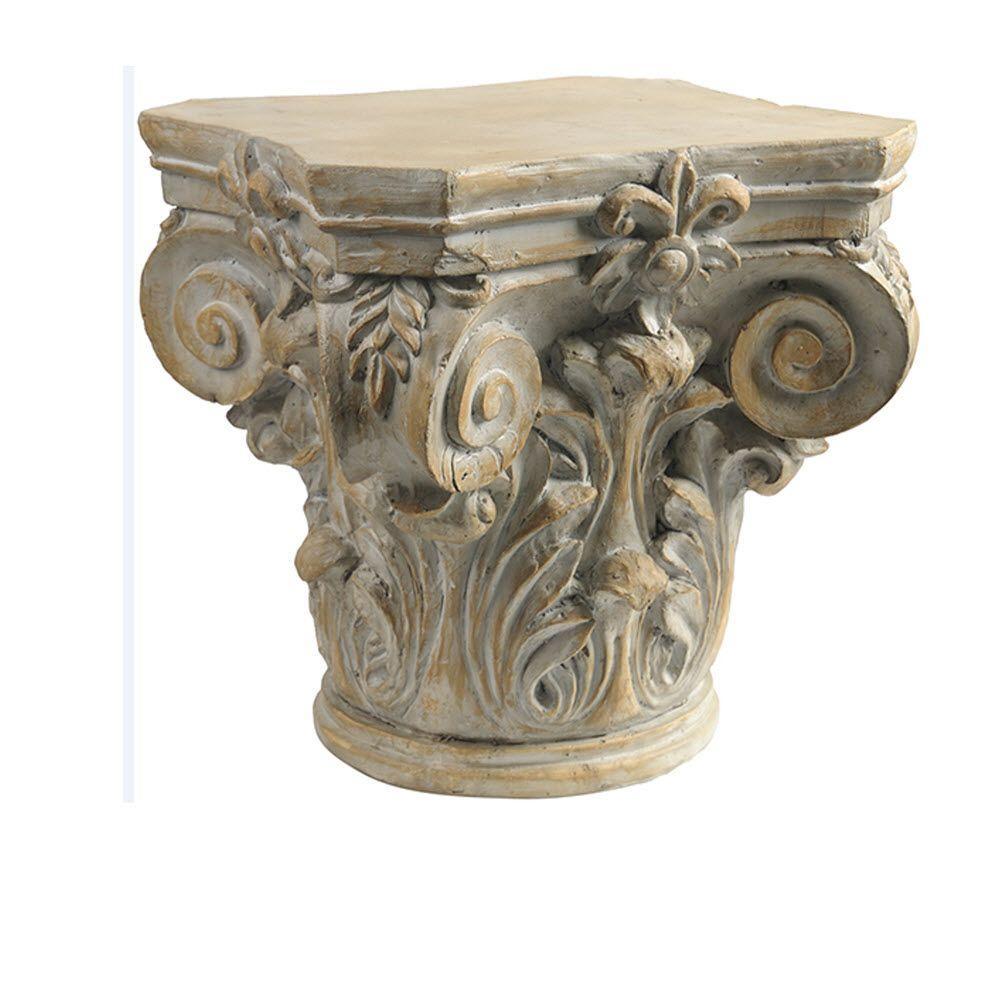 Aged Cream Acanthus Pedestal