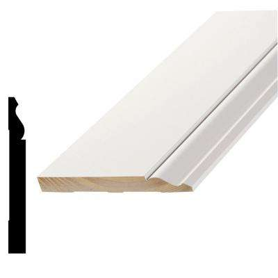 L 163E7 9/16 in. x 5-1/4 in. x 96 in. Primed Pine Finger-Jointed Base Moulding