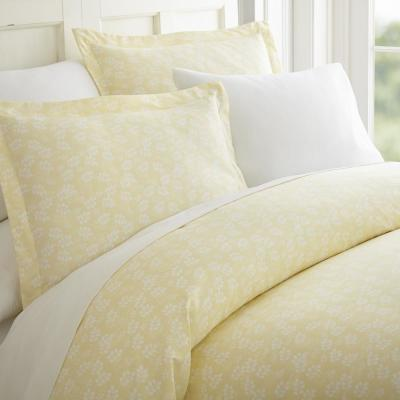 Wheat Field Patterned Performance Ivory Queen 3-Piece Duvet Cover Set