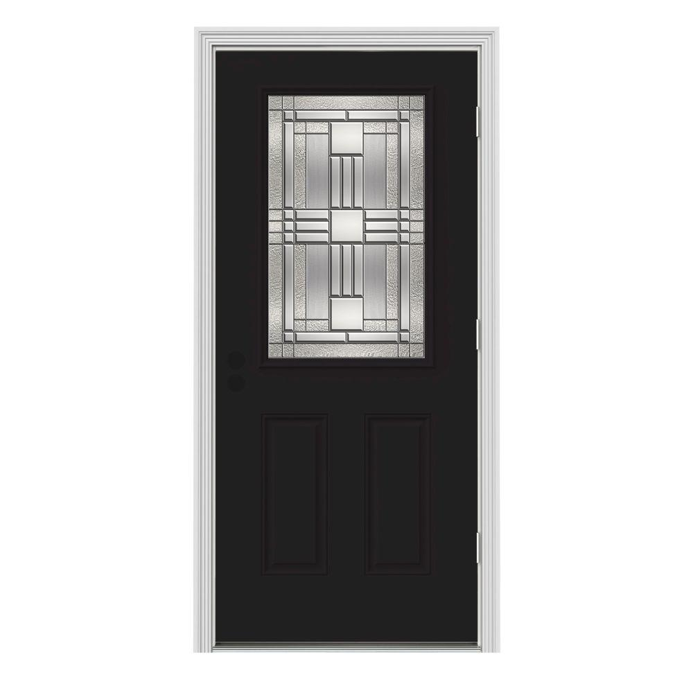 JELD-WEN 36 in. x 80 in. 1/2 Lite Cordova Black Painted Steel Prehung Left-Hand Outswing Front Door w/Brickmould