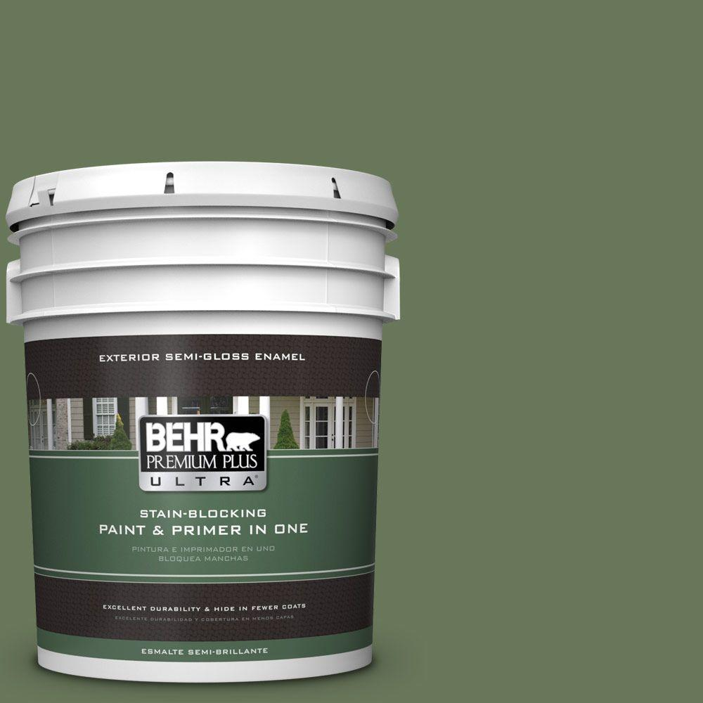 BEHR Premium Plus Ultra 5-gal. #PPU10-1 Scallion Semi-Gloss Enamel Exterior Paint