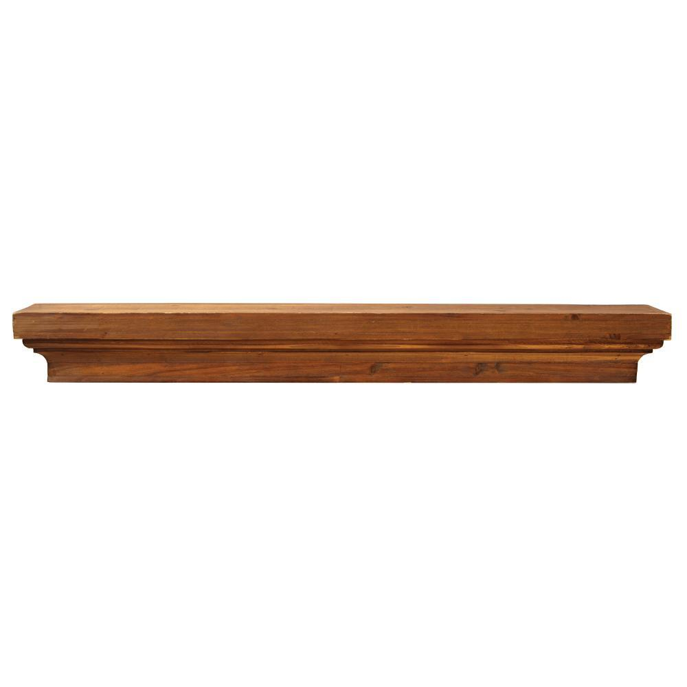 48 in. x 7 in. Floating Brown Wood Decorative Shelf