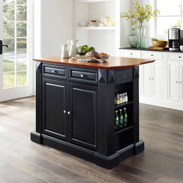 Crosley Coventry Black Kitchen Island With Drop Leaf Top Kf30007bk The Home Depot