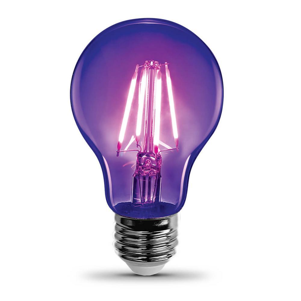 7-Watt A19 Glass Medium E26 Base LED Black Light Party Light Bulb (6-Pack)