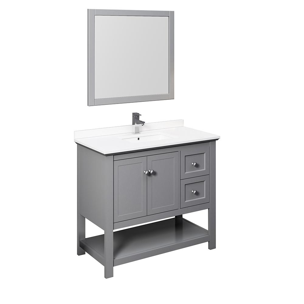 Fresca Manchester 42 in. W Bathroom Vanity in Gray with Quartz Stone Vanity Top in White with White Basin and Mirror