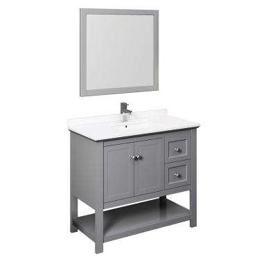 Manchester 42 in. W Bathroom Vanity in Gray with Quartz Stone Vanity Top in White with White Basin and Mirror