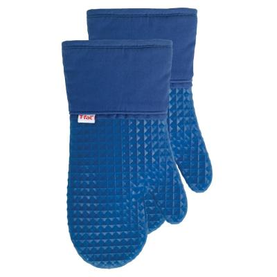 T-fal Blue Cotton Waffle Silicone Oven Mitt (Set of 2)
