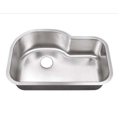 Undermount Stainless Steel 32 in. 0-Hole Single Bowl Kitchen Sink